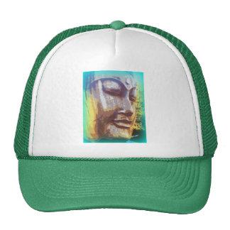 Buddha face green trucker hat