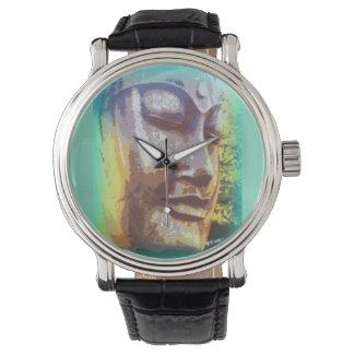 Buddha face green wrist watches