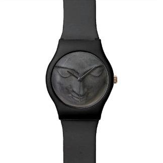 Buddha face grey wrist watch