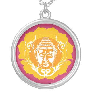 Buddha face in orange round pendant necklace
