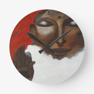 Buddha face on clouds in the sky round clock