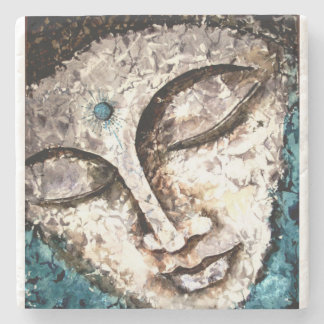 Buddha Face Watercolor Art Stone Coaster