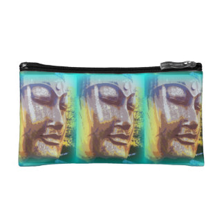 buddha faces green cosmetic bag