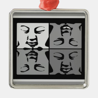 Buddha faces metal ornament
