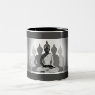 Buddha & Four Silhouettes Two-Tone Coffee Mug