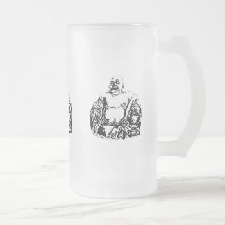 buddha frosted glass beer mug
