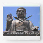 Buddha - Good fortune, luck and wellbeing Wall Clocks