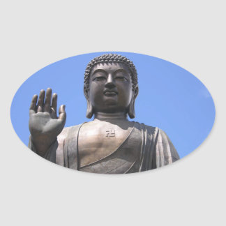 Buddha - Good fortune, luck and wellbeing Oval Sticker