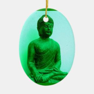 Buddha Green Bronze Statue by Sharles Christmas Ornament