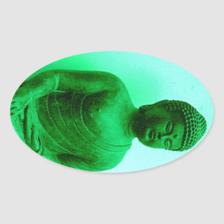 Buddha Green Bronze Statue by Sharles Oval Sticker