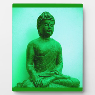 Buddha Green Bronze Statue by Sharles Display Plaque