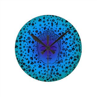 Buddha Head blue purple green Round Wallclock