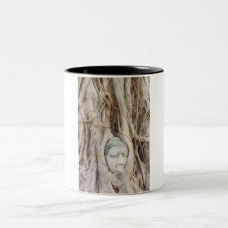 Buddha Head in Overgrown Tree Two-Tone Coffee Mug