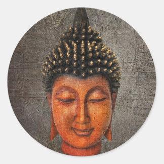 Buddha Head On Distressed Background Hard Light Classic Round Sticker