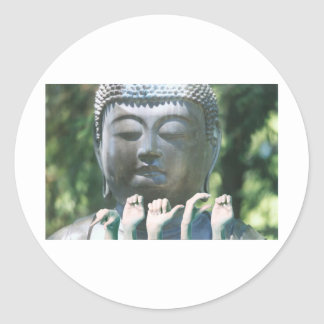 Buddha head & Peace ASL Classic Round Sticker