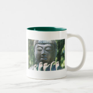 Buddha head & Peace ASL Two-Tone Coffee Mug
