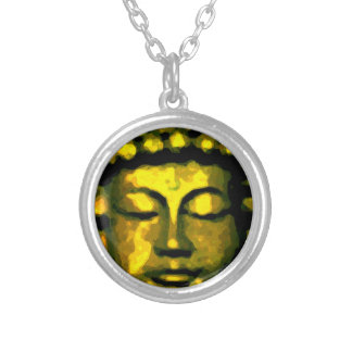 Buddha head silver plated necklace