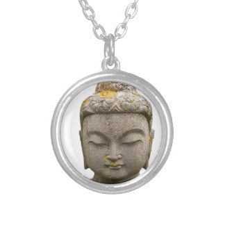 Buddha Head Statue (discolored and ancient) Silver Plated Necklace