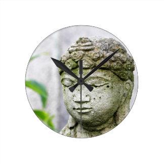 Buddha head statue round clock