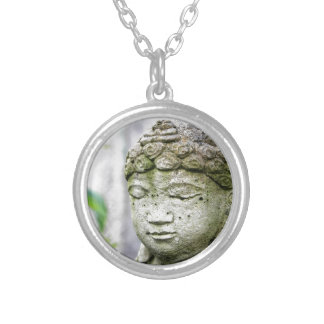 Buddha head statue silver plated necklace