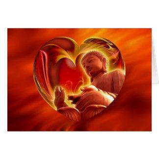 BUDDHA Heart   fire red Greeting Card