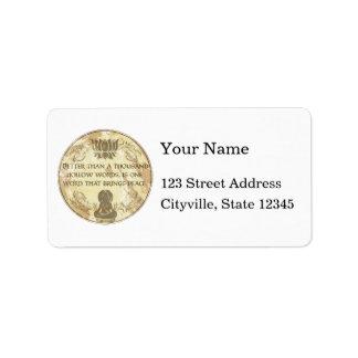 Buddha Hollow Words Custom Address Label