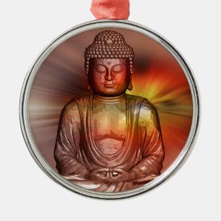 Buddha II Round Metal Christmas Ornament