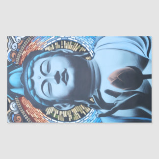 Buddha in Blue Rectangular Sticker