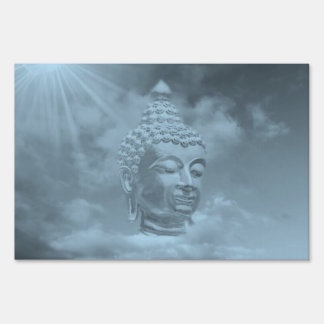 buddha in colored clouds with artificial sun lawn sign