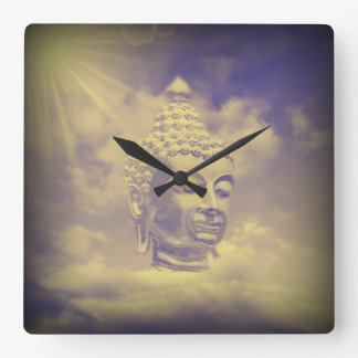 buddha in colored clouds with artificial sun square wall clock