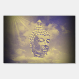 buddha in colored clouds with artificial sun yard sign