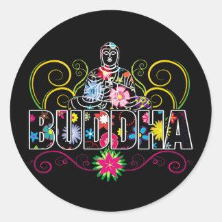 Buddha in Flowers Classic Round Sticker