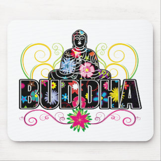 Buddha in Flowers Mouse Pad