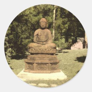 Buddha in Japanese Garden Vintage 1915 Classic Round Sticker