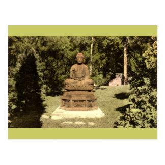 Buddha in Japanese Garden Vintage 1915 Postcard