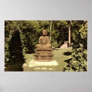 Buddha in Japanese Garden Vintage 1915 Poster