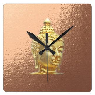 buddha in marsala square wall clock