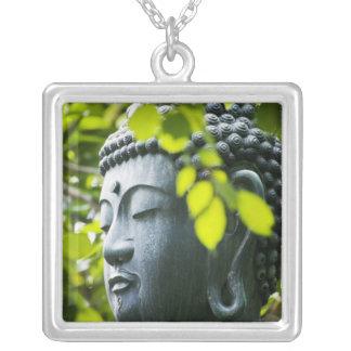 Buddha in Senso-ji Temple Garden Square Pendant Necklace