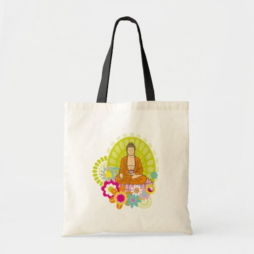 Buddha in Spring Flowers Bags
