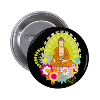 Buddha in Spring Flowers 2 Inch Round Button
