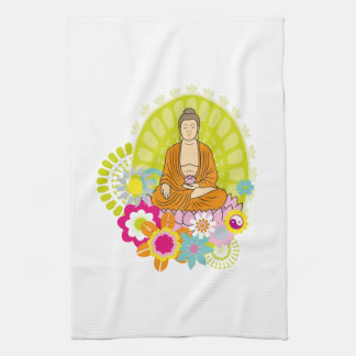Buddha in Spring Flowers Hand Towel