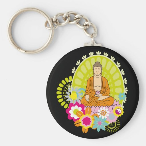 Buddha in Spring Flowers Key Chains