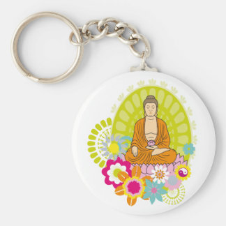 Buddha in Spring Flowers Keychains