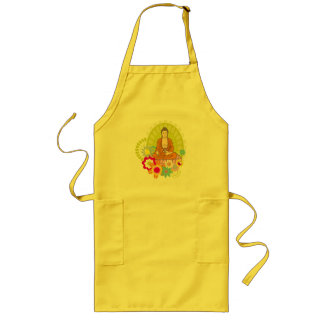 Buddha in Spring Flowers Long Apron