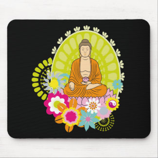 Buddha in Spring Flowers Mouse Pad