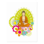Buddha in Spring Flowers Post Card