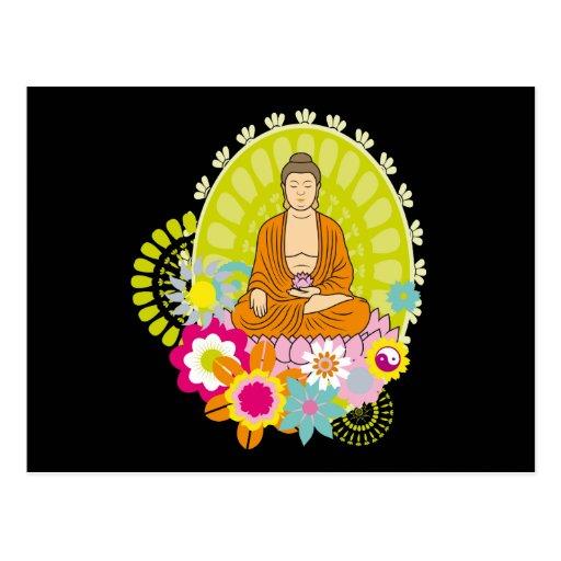 Buddha in Spring Flowers Postcard
