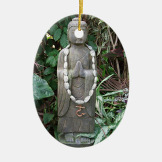 Buddha in the Garden Double-Sided Oval Ceramic Christmas Ornament