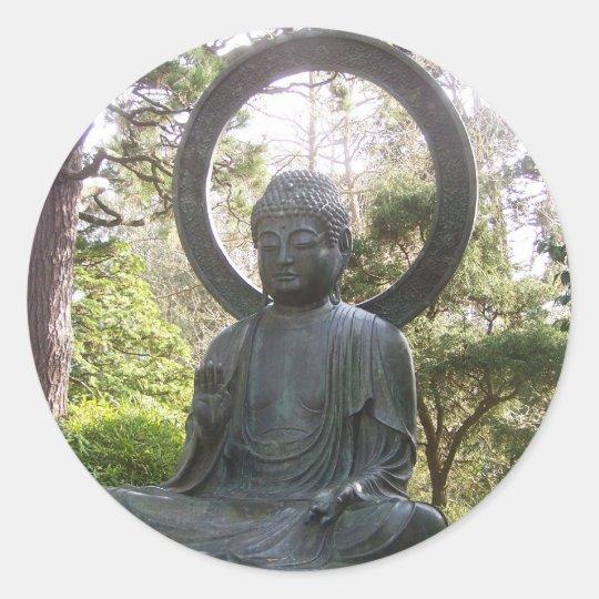 Buddha in the Japanese Tea Garden Classic Round Sticker