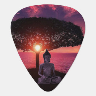 Buddha in the Red Evening Sky Guitar Pick